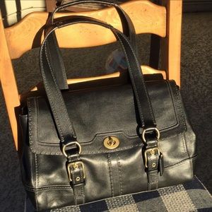 Coach Hampton Large Black Leather Satchel
